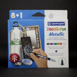 Sada fixů Decor Pen, metalické, vhodné na lakovaný papír, kov, sklo, plast, fólie, keramiku, kámen, 8+1