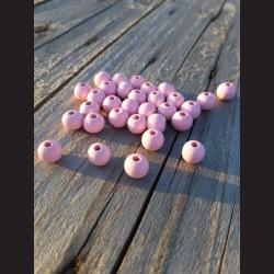 Dřevěné korálky pudrově růžové 0,8mm-50g vhodné na korálkování, výrobu lapače snů, pedig. Vhodné po děti i dospělé
