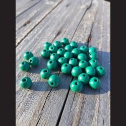 Dřevěné korálky tyrkysové 10 mm-50g vhodné na korálkování, výrobu lapače snů, pedig. Vhodné po děti i dospělé