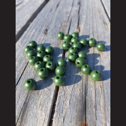 Dřevěné korálky tmavě zelené 10 mm-50g vhodné na korálkování, výrobu lapače snů, pedig. Vhodné po děti i dospělé