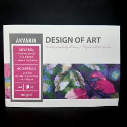 Blok Akvarin, A4, 300g, 20 listů, vhodné na akvarel a běžné tiskové techniky