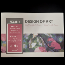 Blok Akvarin, A3, 300g, 20 listů, vhodné na akvarel a běžné tiskové techniky