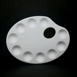Plastová oválná paleta, bílá, vhodné na míchání barev