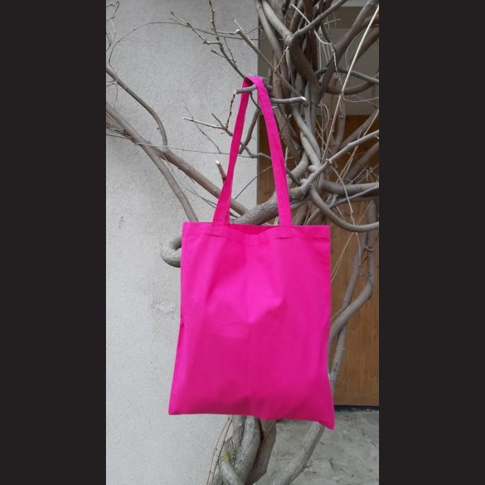 Bavlněná taška tm. růžová - magenta s dlouhým uchem na nákupy. Vhodná k dalšímu dotvoření, např. barvami na textil, vyšíváním aj