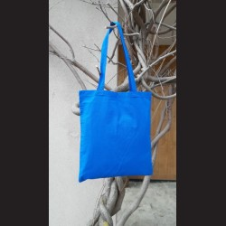 Bavlněná taška stř.modrá-royal blue s dlouhým uchem na nákupy. Vhodná k dalšímu dotvoření, např.barvami na textil, vyšíváním aj.