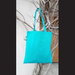 Bavlněná taška tyrkysová - turqoise s dlouhým uchem na nákupy. Vhodná k dalšímu dotvoření, např. barvami na textil, vyšíváním aj