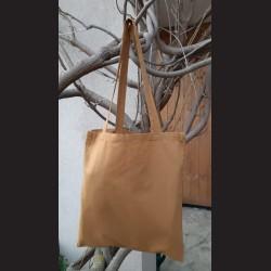 Bavlněná taška kaštanová-medal bronze s dlouhým uchem na nákupy. Vhodná k dalšímu dotvoření, např.barvami na textil,vyšíváním aj