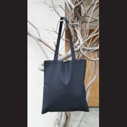 Bavlněná taška černá - black s dlouhým uchem na nákupy. Vhodná k dalšímu dotvoření, např. barvami na textil, vyšíváním aj.