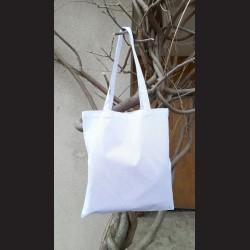 Bavlněná taška bílá - white s dlouhým uchem na nákupy. Vhodná k dalšímu dotvoření, např. barvami na textil, vyšíváním aj.