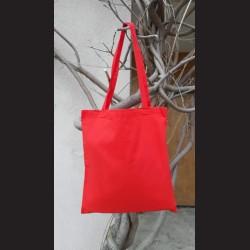 Bavlněná taška červená - red s dlouhým uchem na nákupy. Vhodná k dalšímu dotvoření, např. barvami na textil, vyšíváním aj.