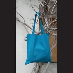 Bavlněná taška petrolejová - petrol s dlouhým uchem na nákupy. Vhodná k dalšímu dotvoření, např. barvami na textil, vyšíváním aj