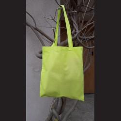 Bavlněná taška sv.zelená - lime s dlouhým uchem na nákupy. Vhodná k dalšímu dotvoření, např. barvami na textil, vyšíváním aj.