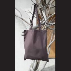 Bavlněná taška tm.hnědá - brown s dlouhým uchem na nákupy. Vhodná k dalšímu dotvoření, např. barvami na textil, vyšíváním aj.