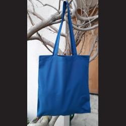 Bavlněná taška nám.modrá-petrol blue s dlouhým uchem na nákupy. Vhodná k dalšímu dotvoření, např.barvami na textil, vyšíváním aj