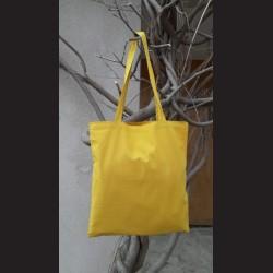 Bavlněná taška hořčicová-mustard s dlouhým uchem na nákupy. Vhodná k dalšímu dotvoření, např. barvami na textil, vyšíváním aj.