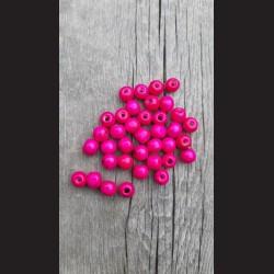 Dřevěné korálky růžové malinové 0,8cm-50g vhodné na korálkování, výrobu lapače snů, pedig. Vhodné po děti i dospělé