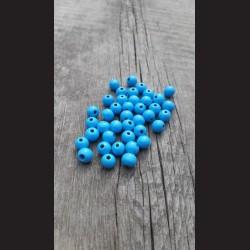 Dřevěné korálky nebesky modré 0,8cm-50g vhodné na korálkování, výrobu lapače snů, pedig. Vhodné po děti i dospělé