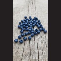 Dřevěné korálky modré tmavé 0,8cm-50g vhodné na korálkování, výrobu lapače snů, pedig. Vhodné po děti i dospělé