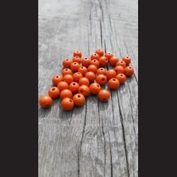 Dřevěné korálky 1 cm - oranžové dýňové, 50 g