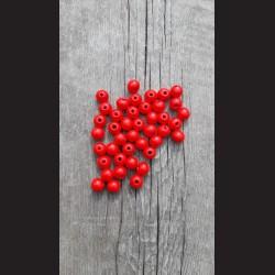 Dřevěné korálky 1 cm - červené, 50 g