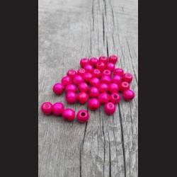Dřevěné korálky 1 cm - růžové malinové, 50 g