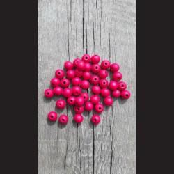 Dřevěné korálky 1 cm - růžové tmavé, 50 g