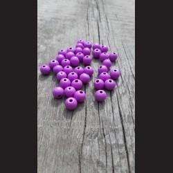 Dřevěné korálky 1 cm - fialové lila, 50 g