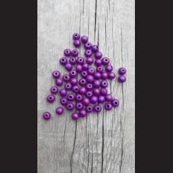Dřevěné korálky fialové švestkové 10 mm-50g vhodné na korálkování, výrobu lapače snů, pedig. Vhodné po děti i dospělé