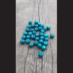 Dřevěné korálky modrý tyrkys 10 mm-50g vhodné na korálkování, výrobu lapače snů, pedig. Vhodné po děti i dospělé