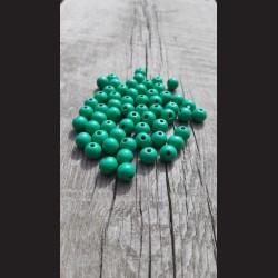 Dřevěné korálky zelenomodré 10 mm-50g vhodné na korálkování, výrobu lapače snů, pedig. Vhodné po děti i dospělé