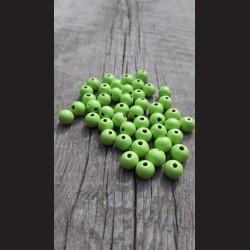 Dřevěné korálky zelené světlé 10 mm-50g vhodné na korálkování, výrobu lapače snů, pedig. Vhodné po děti i dospělé