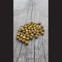 Dřevěné korálky zelené khaki 10 mm-50g vhodné na korálkování, výrobu lapače snů, pedig. Vhodné po děti i dospělé