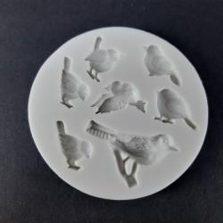 Forma na odlévání, ptáčci, vhodné na odlévání sádry, kreativního betonu, mýdlové hmoty, samotvrdnoucí hmoty nebo polymerových hm