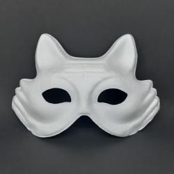 Papírová maska na obličej, liška, určeno k domalování nebo dalšímu dotvoření, vhodné jako karnevalová maska
