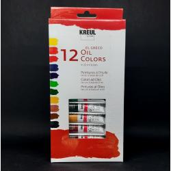 Sada olejových barev KREUL, 12ks, vhodné použít na pláno, papír, lepenku a další materiály
