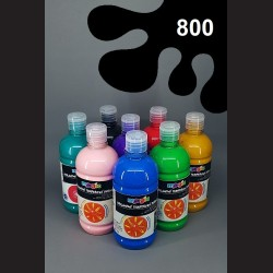 Černá temperová barva Primo Magic 500 ml. Krycí, světlustálá, rychleschnoucí, vhodná pro děti i dospělé.
