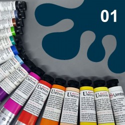 Profesionální olejová barva UMTON, 20 ml, odstín indigo. Kvalitní, odolné, světlostálé pigmenty.