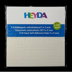 Samolepicí čtverečky, 5x5x2mm, vhodné na lepení různých dekorací, přání, papírů, fotografií apod.