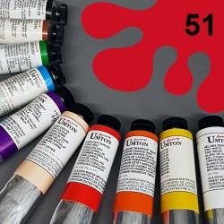 Profesionální olejová barva UMTON, 60 ml, odstín permanentní červeň střední. Kvalitní, odolné, světlostálé pigmenty.