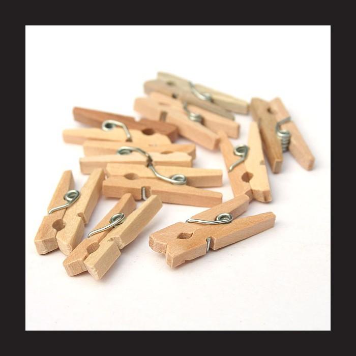 Dřevěné přírodní kolíčky - 2,5 cm, 50 ks, kolíčky na dekorační sítě, na fotky, malé kolíčky ze dřeva vhodné i k dotvoření