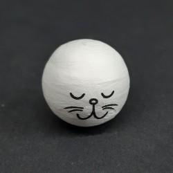 Vatová hlava, kočička, vhodné pro dekoraci a další dotvoření, například figurky nebo loutky