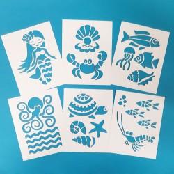 Papírové šablony - MOŘSKÝ SVĚT 6 ks, šablony moře, šablona  mořská panna, šablona ryby, šablona krab