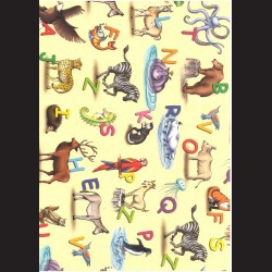 Fotokarton  A4 zvířátka s písmeny, tvrdý karton 300g vhodný na výrobu přání, tvoření s dětmi, scrapbook a další tvoření