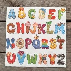 Ubrousky na decoupage abeceda, ubrousky na dekupáž, ubrousky na ubrouskovou techniku, dekorativní ubrousky, ubrousek s abecedou,