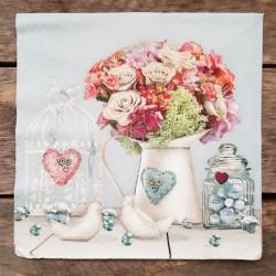 Ubrousky na decoupage kytice, ubrousky na dekupáž, ubrousky na ubrouskovou techniku, dekorativní ubrousky, ubrousek s vázou