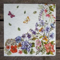 Ubrousky na decoupage luční kvítí, ubrousky na dekupáž, ubrousky na ubrouskovou techniku, dekorativní ubrousky, ubrousek a květi