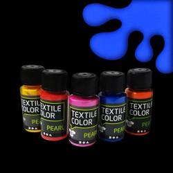 Perleťová barva na textil - modrá, vhodné na světlý i tmavý textil, 50 ml, malování na oblečení, barvy na oblečení