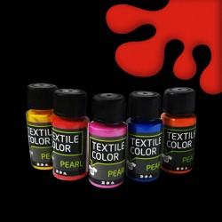 Perleťová barva na textil - červená, vhodné na světlý i tmavý textil, 50 ml, malování na oblečení, barvy na oblečení