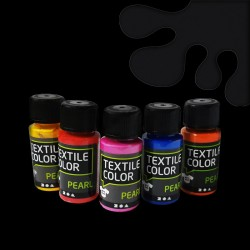 Perleťová barva na textil - šedá, vhodné na světlý i tmavý textil, 50 ml, malování na oblečení, barvy na oblečení