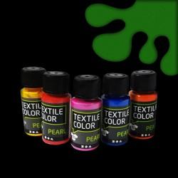 Perleťová barva na textil - zelená, vhodné na světlý i tmavý textil, 50 ml, malování na oblečení, barvy na oblečení